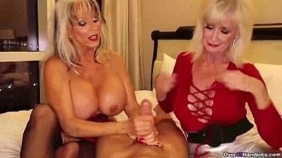 big cock  double  granny  handjob
