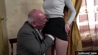 18 years old  blowjob  brunette  grandpa