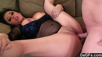big boobs brunette chubby couch